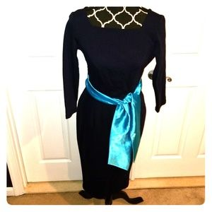 Pinup Couture Navy wiggle with blue satin sash